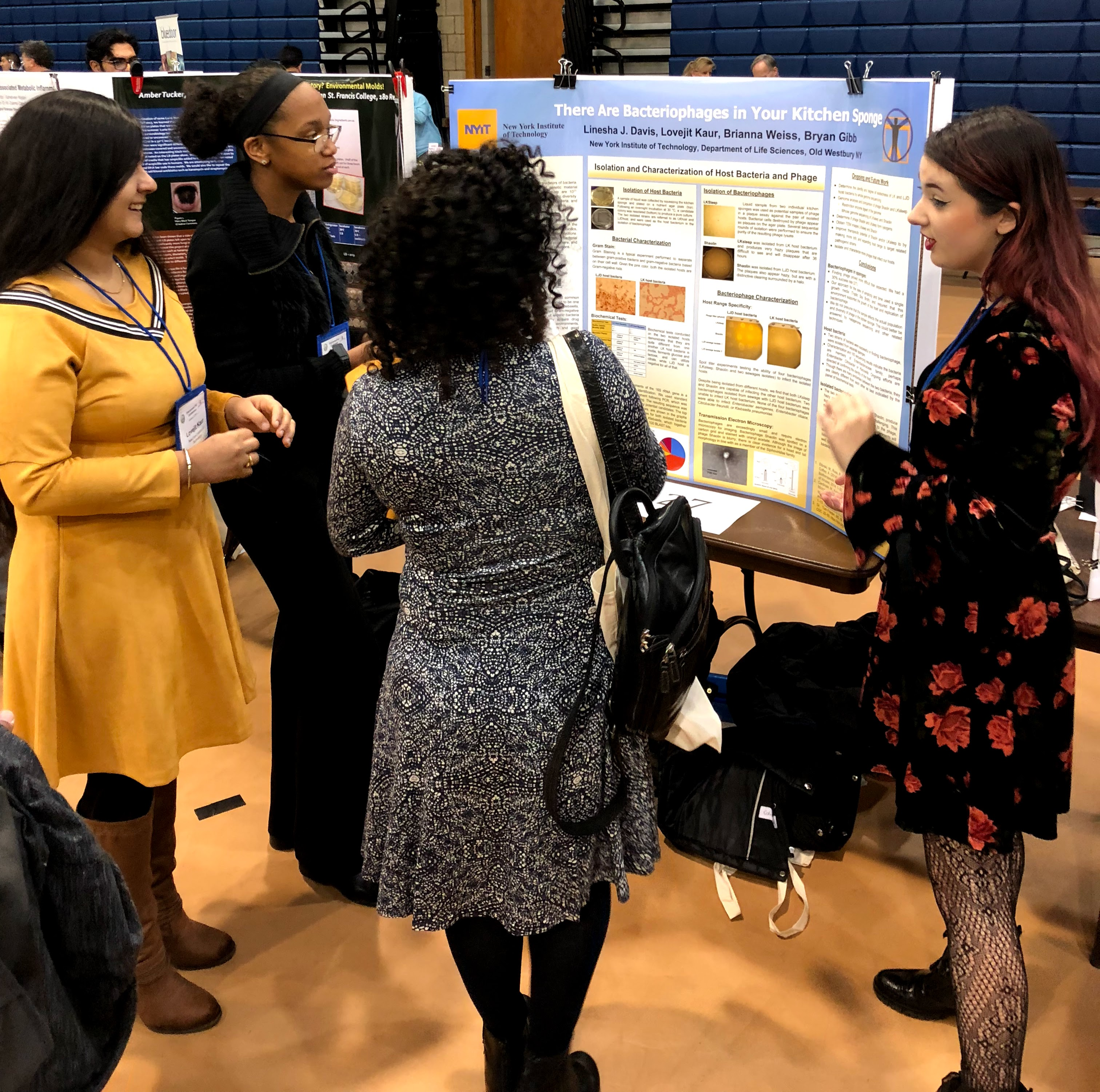 Life Science students, Lovejit Kaur, Linesha Davis and Brianna Weiss present their work at MACUB 2018