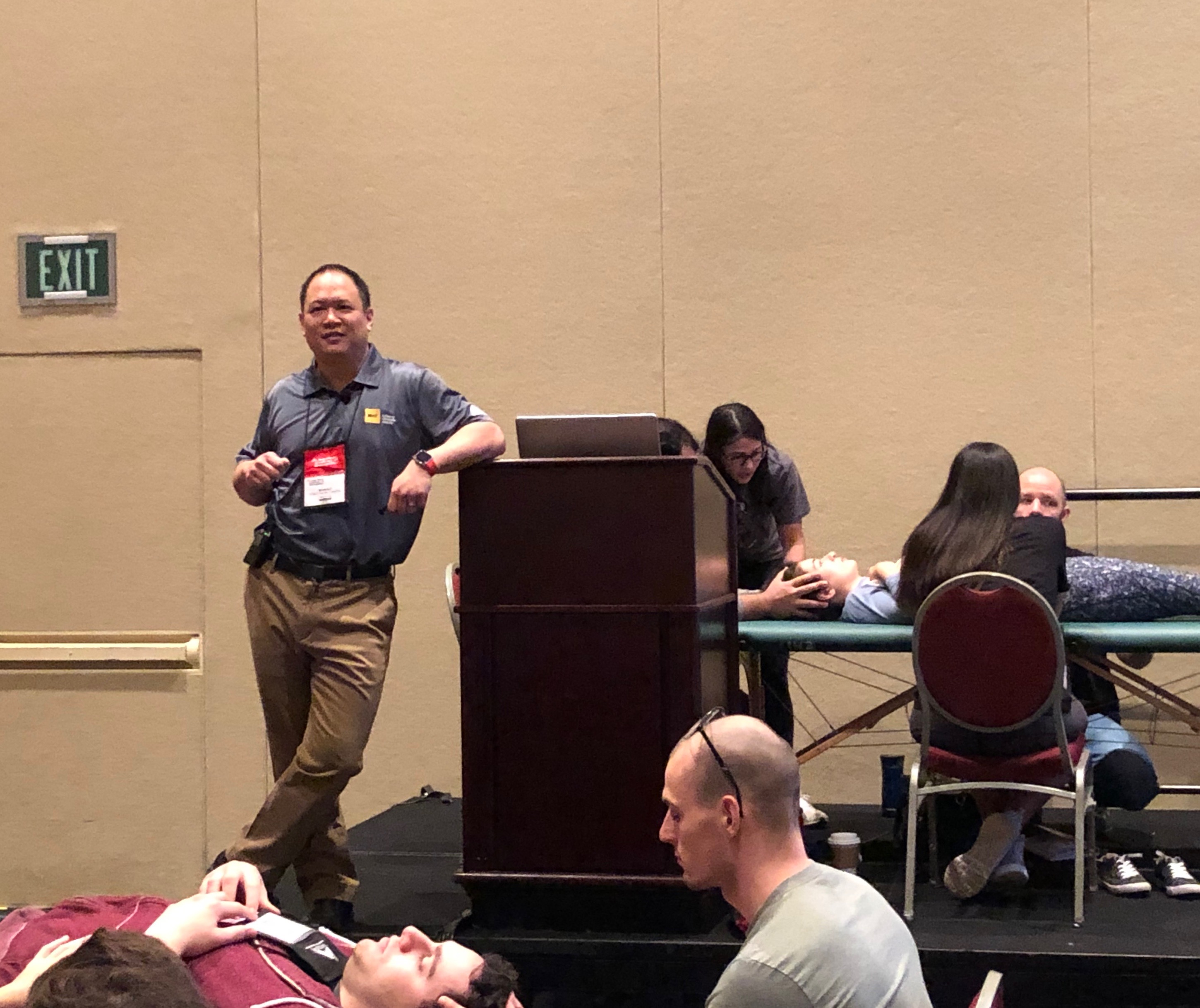 Dr. Sheldon Yao DO, leading an Osteopathic Manipulative Medicine workshop at the AAO Convocation 2019