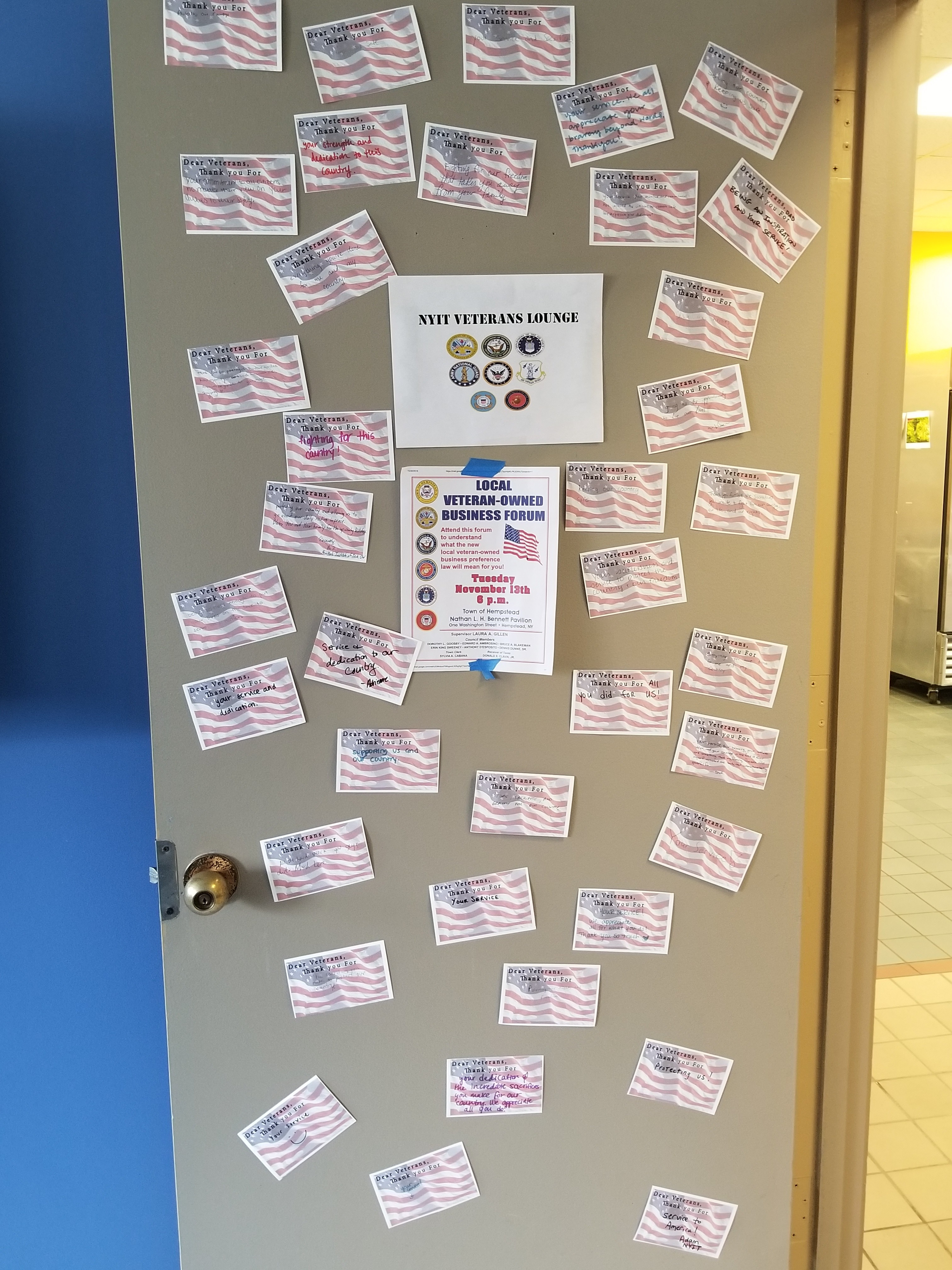 NYIT Student Veterans were provided cards of support by the Office of Student Engagement at the NYC Campus.